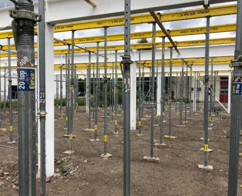 Gewerbehalle Rohbau Bauvorhaben Bochum Naßmacher zweigeschossige Halle